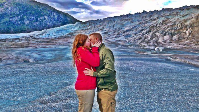 Dani's Proposal in Mendenhall Glacier in Alaska