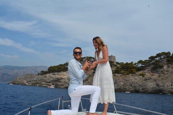 Sonia's Proposal in On a boat to capri, Italy