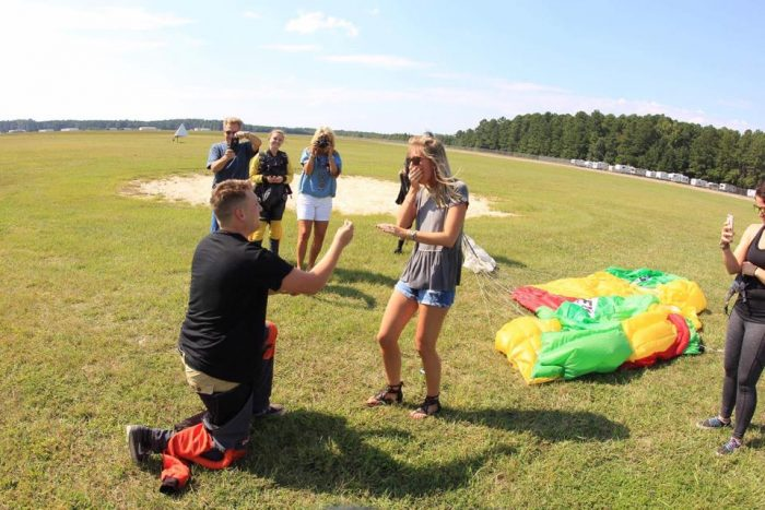 Kristin and Blade's Engagement in Skydive Carolina in Chester, SC
