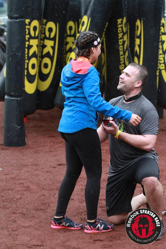 Melissa and Nate's Engagement in Citi Field Ny, NY (Spartan Race)