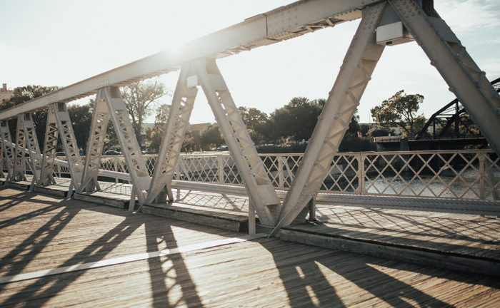 Alexandra and Austin's Engagement in Waco, TX Suspension Bridge