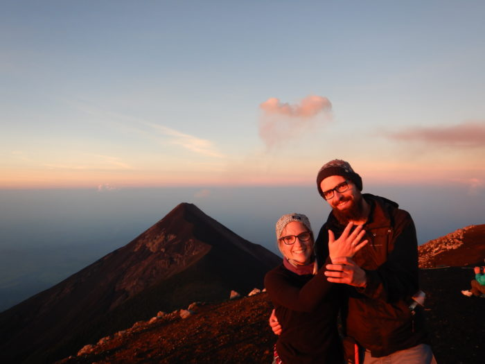 Jana and Tim's Engagement in Guatemala, on top of the Acatenango Vulcano