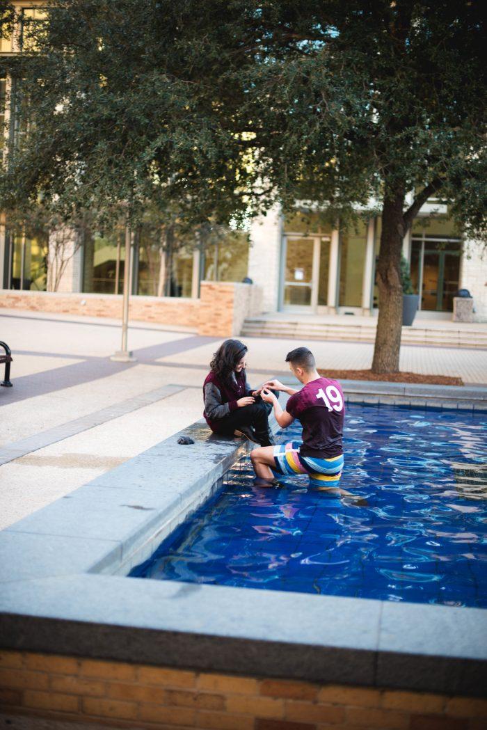 Setareh's Proposal in Texas A&M University's Rudder Fountain