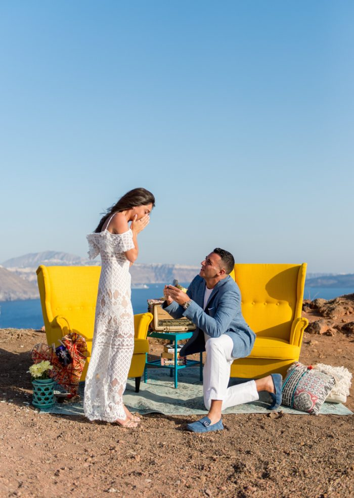 Stephanie and Vincent's Engagement in Santorini, Greece
