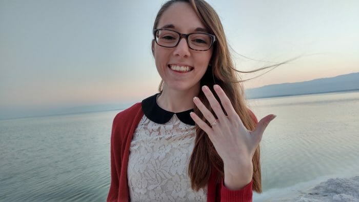 Emily and Justin's Engagement in On the Dead Sea between Jordan and Israel