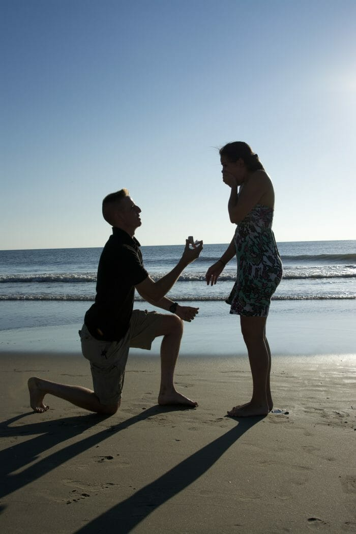 Engagement Proposal Ideas in On the beach during our first vacation together