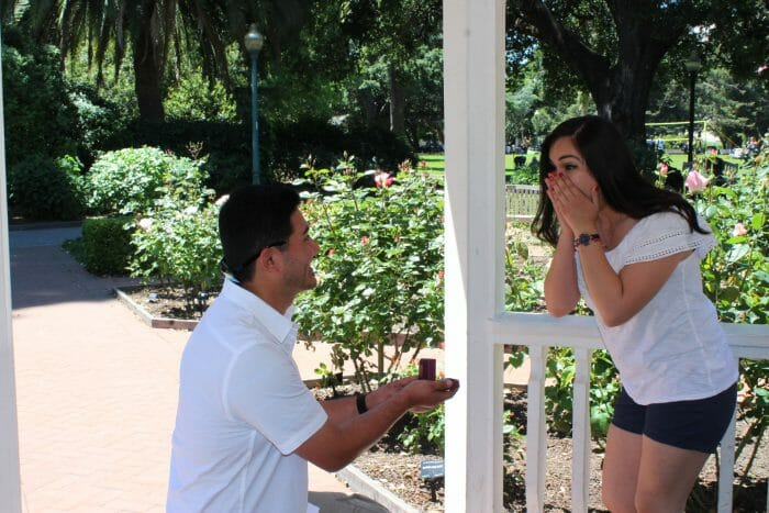 Wedding Proposal Ideas in Inside a gazebo surrounded by roses
