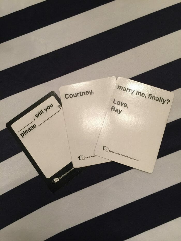 Marriage Proposal Ideas in In our home during game night with friends