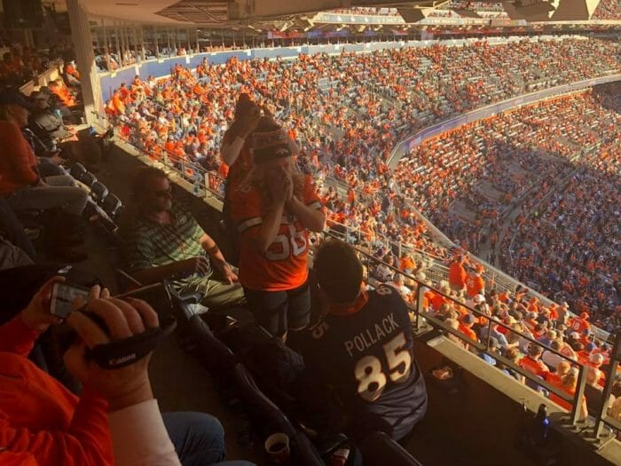 Khrystyna and Adam's Engagement in Mile high stadium Denver, Colorado