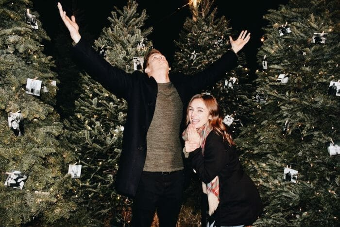 Shannon and Adam's Engagement in Bambi's Christmas tree lot Roseville, CA