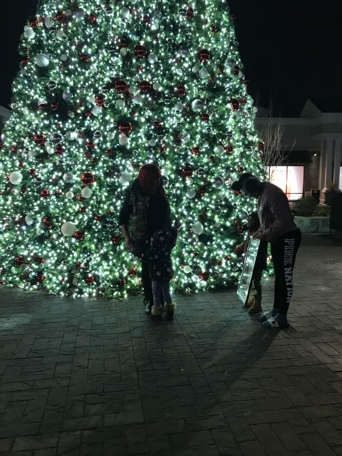 Brittney and Thadius's Engagement in At the Norfolk Premium Outlet (in front of the giant Christmas tree)