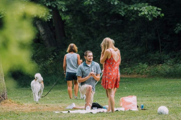 Marriage Proposal Ideas in The Arboretum in Ann A