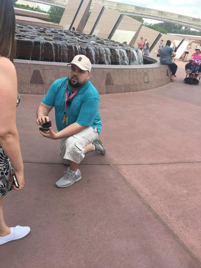 Jessica's Proposal in Epcot in Disney, Florida