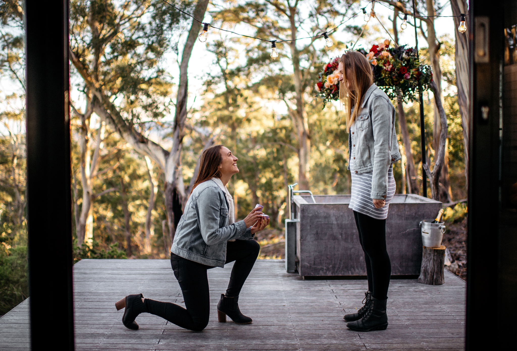 Ellen and Carina's Engagement in Rocky Hills East Coast Tasmania