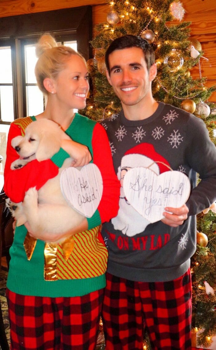 Christmas morning pajama proposal with puppy