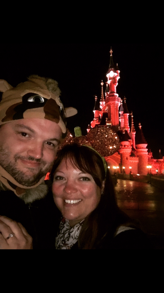 Carrie's Proposal in Disneyland Paris in front of Sleeping Beauty Castle