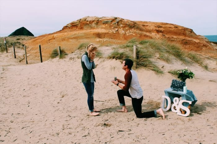 Marriage Proposal Ideas in Pacific City Beach in Oregon