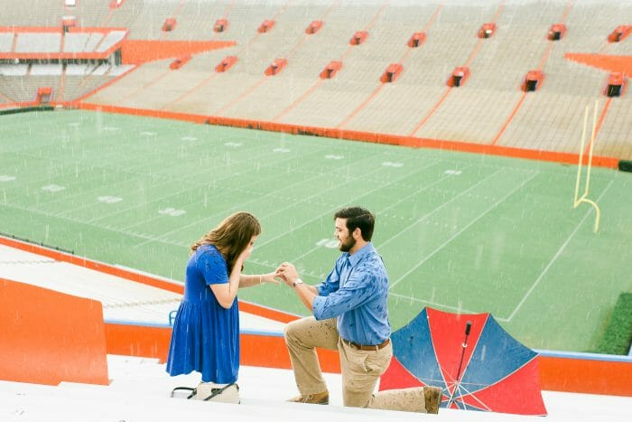 Engagement Proposal Ideas in University of Florida Football Stadium. Gainesville, Florida