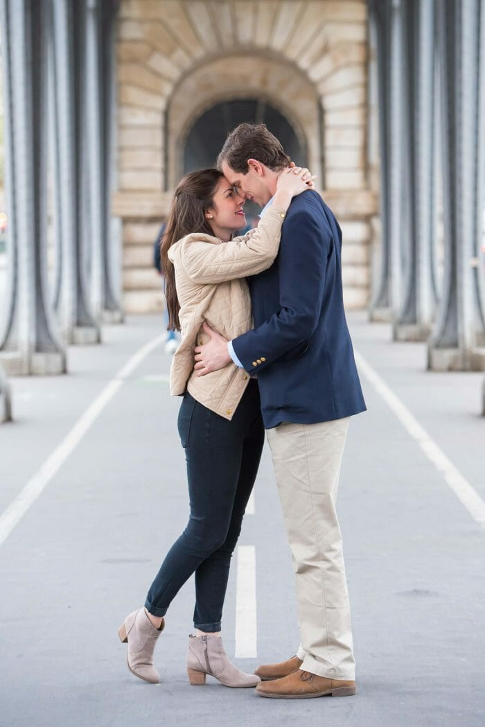 Allie and Chris's Engagement in Pont de Bir-Hakeim, Paris, France