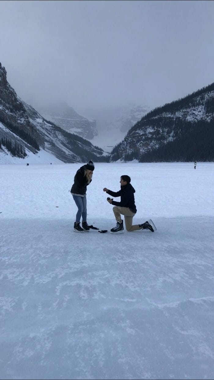 Where to Propose in Frozen Lake Louise in Alberta, Canada