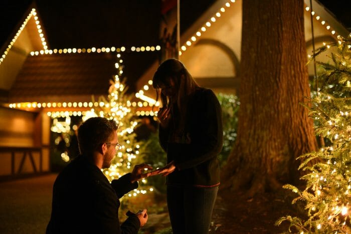 Engagement Proposal Ideas in Christmas Town at Busch Gardens