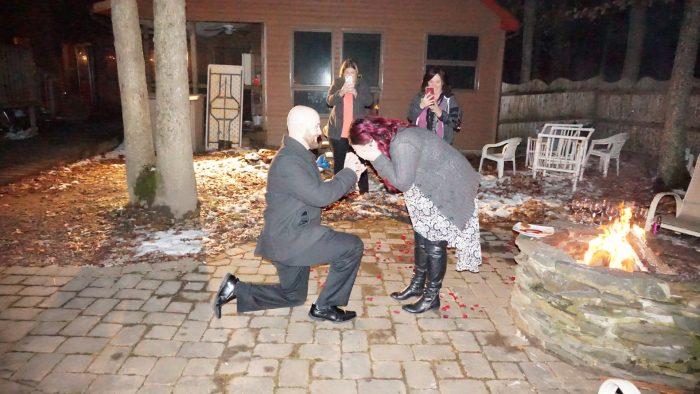 Marriage Proposal Ideas in Brides parents backyard