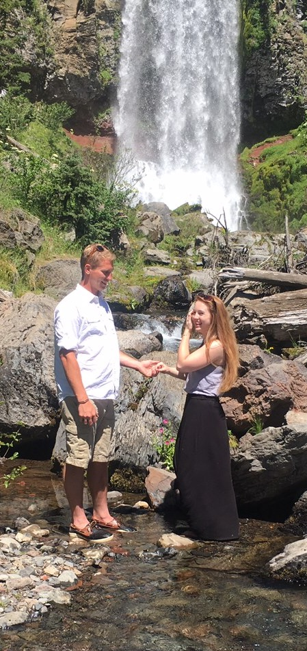 Brittany and Derek's Engagement in Tumalo Falls, Oregon