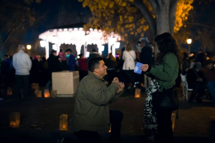 Emily's Proposal in Albuquerque, New Mexico during the annual Old Town Holiday Stroll