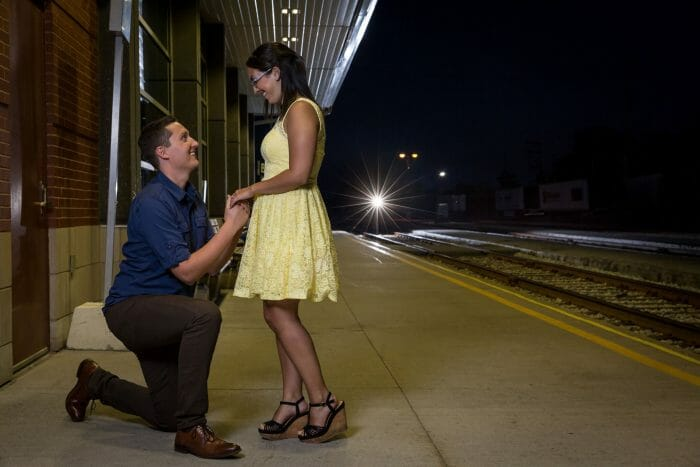 Wedding Proposal Ideas in ViaRail Train Station- Windsor, Ontario, Canada