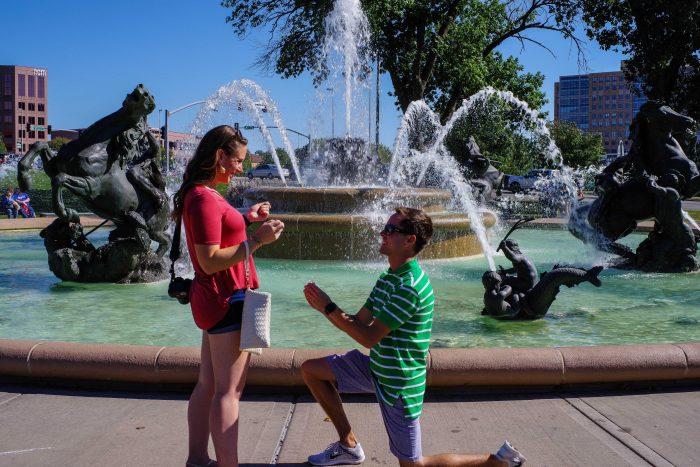 Engagement Proposal Ideas in JC Nichols Fountain, Kansas City, MO