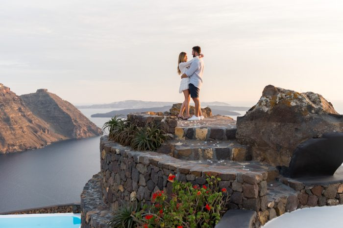 Kenny and Nicole's Engagement in Aenaon Villas, Santorini
