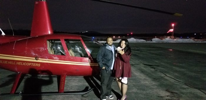 Wedding Proposal Ideas in In a helicopter in the beautiful night sky of Boston hoovering over Boston Fenway Park