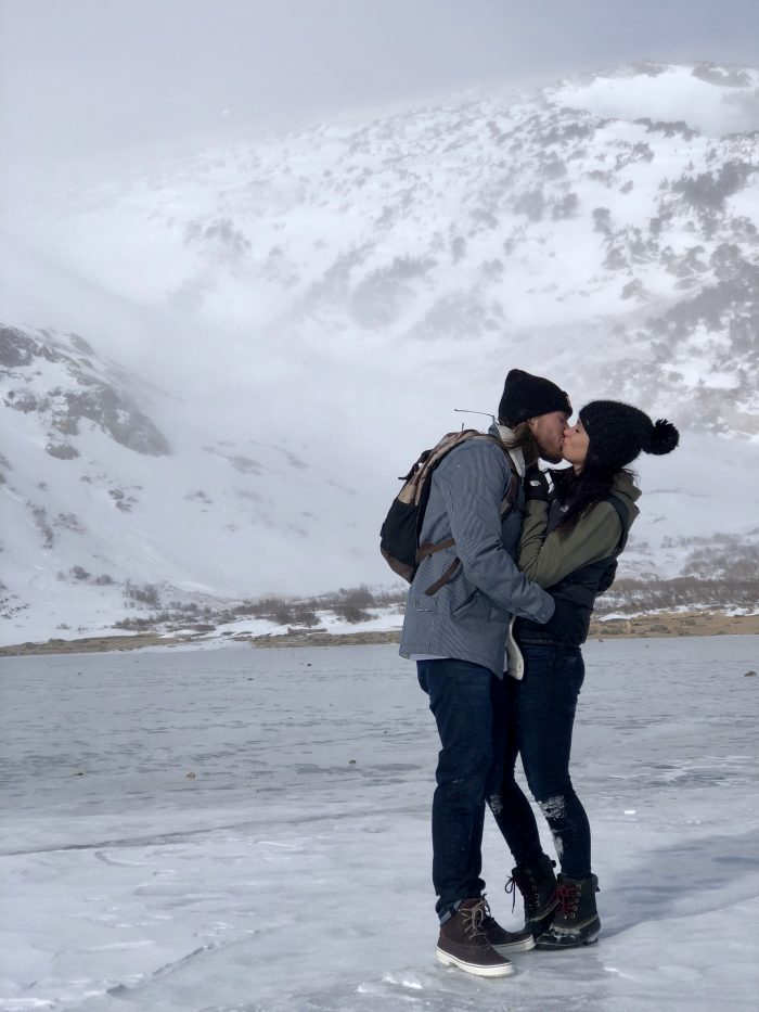 Courtney's Proposal in St Mary's Glacier , Colorado