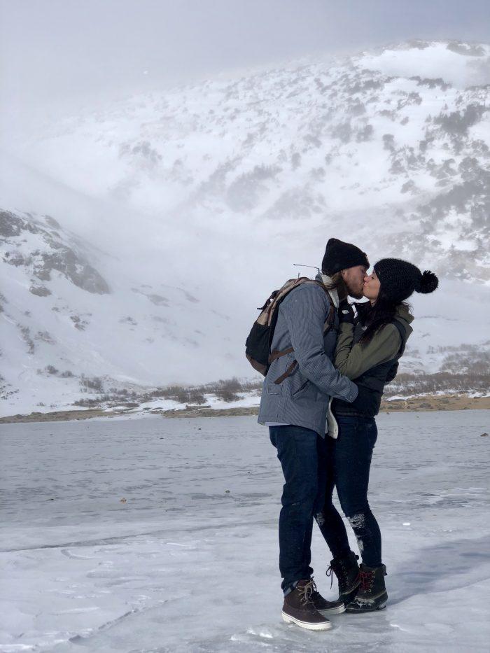 Courtney's Proposal in St Mary's Glacier , Colorado