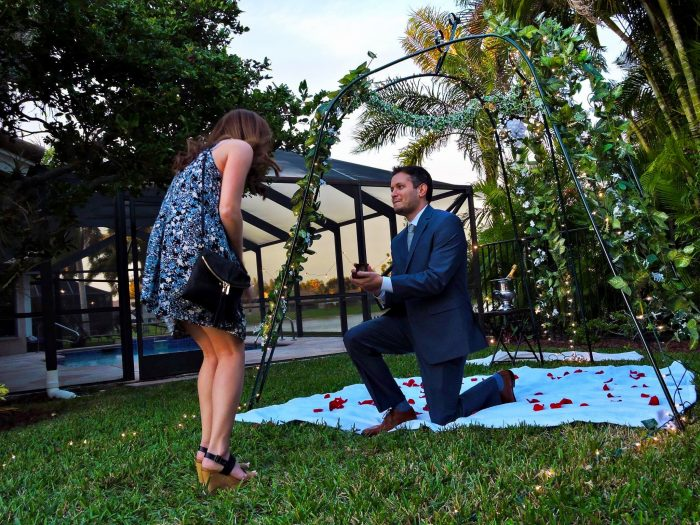 Engagement Proposal Ideas in Matt's childhood home in the backyard