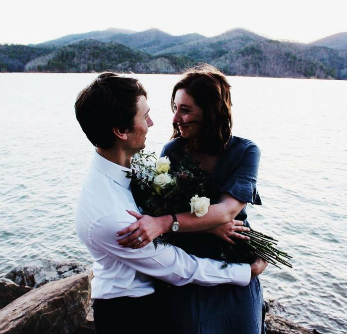 Lindsay and Billy's Engagement in On a lake in the mountains
