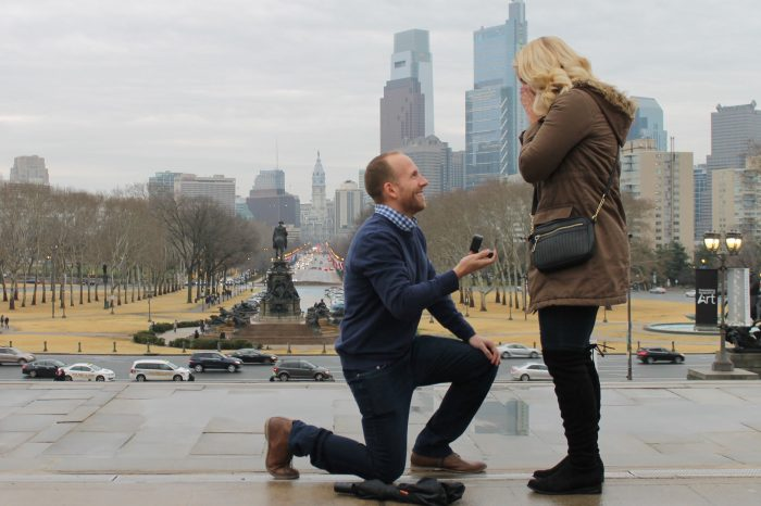 Megan's Proposal in The Rocky Steps at the Philadelphia Art Museum in Philadelphia, PA