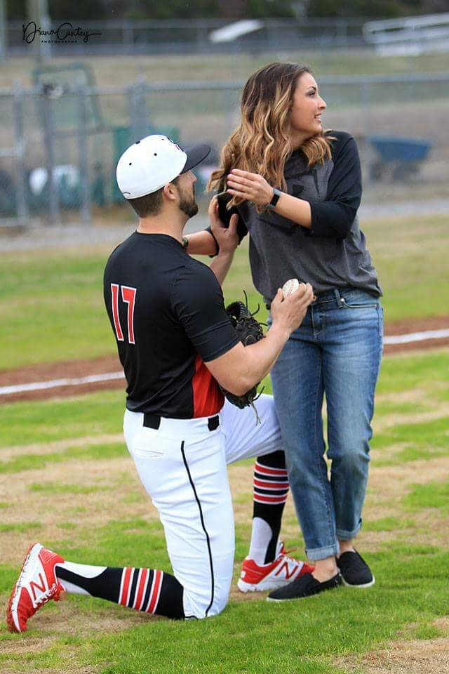 Shelby and Taylor's Engagement in Rose Bud, Arkansas at a baseball field