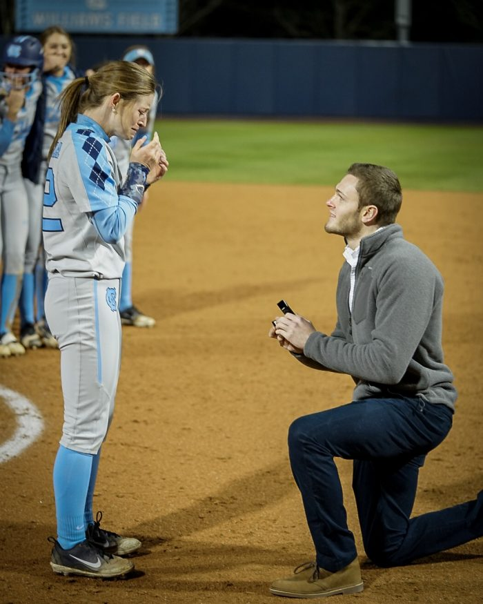 Engagement Proposal Ideas in Eugene G Anderson Softball field