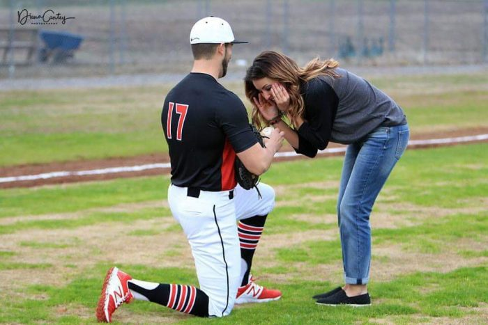 Shelby's Proposal in Rose Bud, Arkansas at a baseball field