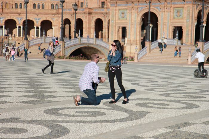 Laura's Proposal in Plaza de España, Sevilla, Spain
