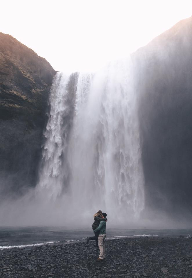 Angelica's Proposal in Skógafoss Waterfall in Iceland