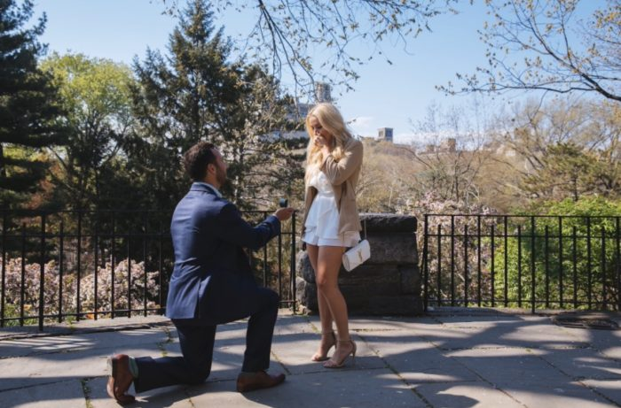 Engagement Proposal Ideas in Central Park in the Shakespeare Garden