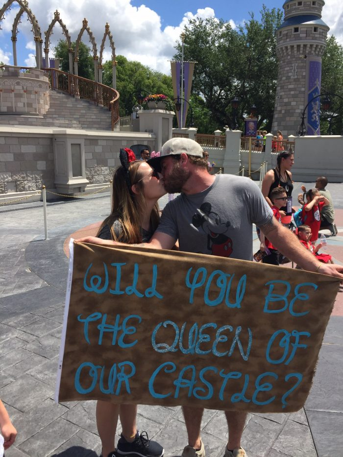 Wedding Proposal Ideas in Disney world in front of Cinderella's castle