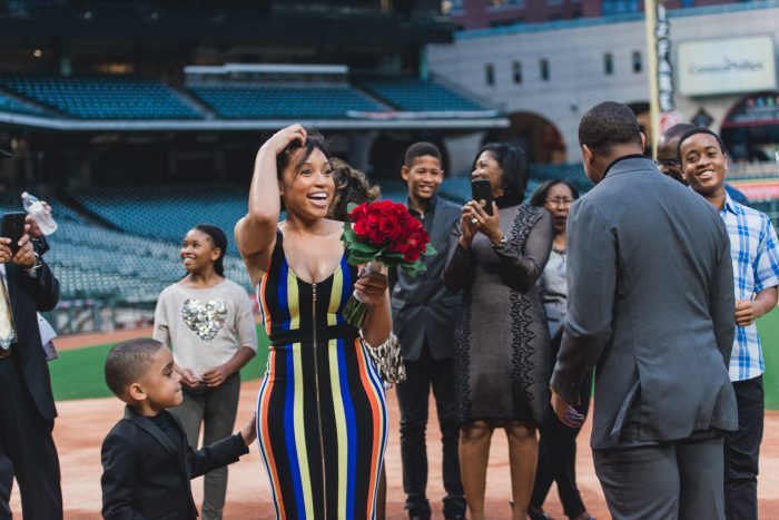 Andre's Proposal in Minute Maid Stadium