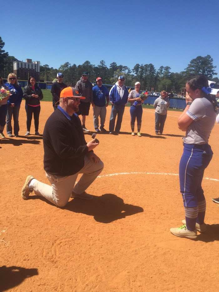 Marriage Proposal Ideas in Chowan University Softball Field in Murfreesboro NC