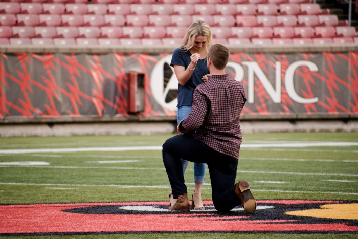 Engagement Proposal Ideas in Louisville, Kentucy; Papa Johns Cardinal Stadium