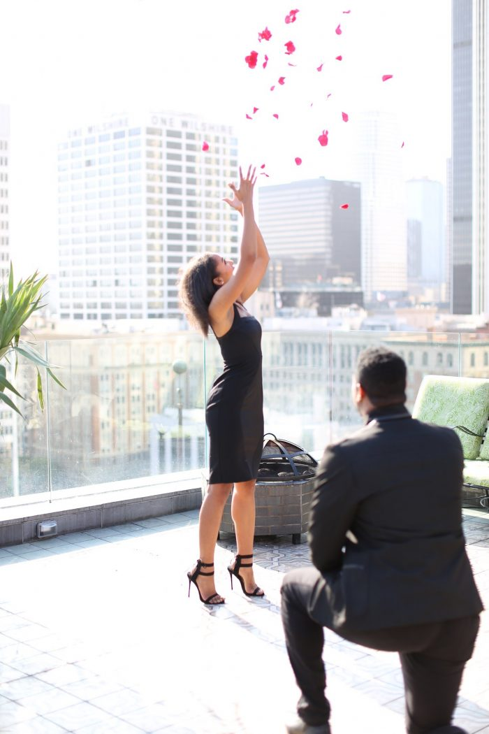 Devon's Proposal in Perch rooftop (Restaurant); Los Angeles, CA