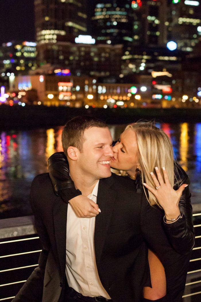 Elizabeth and Dustin's Engagement in Bridge Building - Nashville, TN