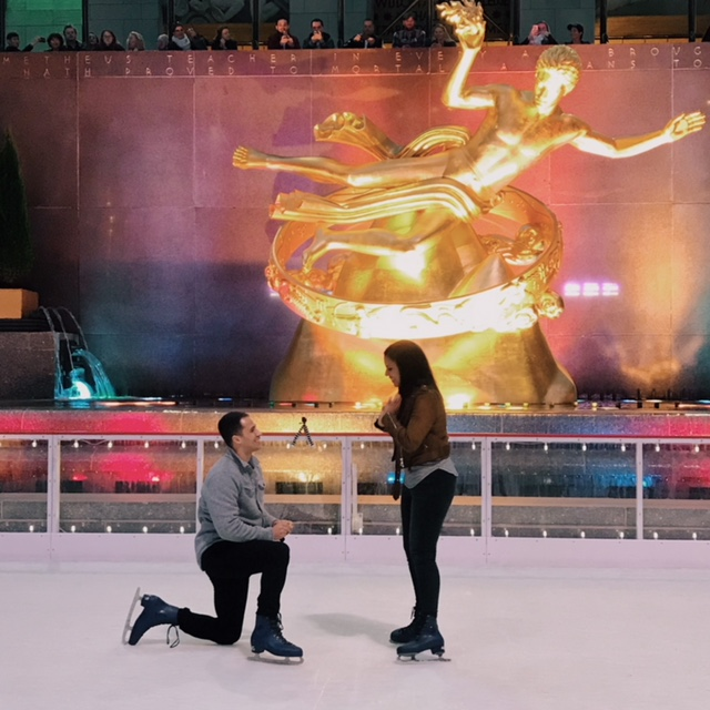 Engagement Proposal Ideas in Rockefeller Ice Rink - NYC